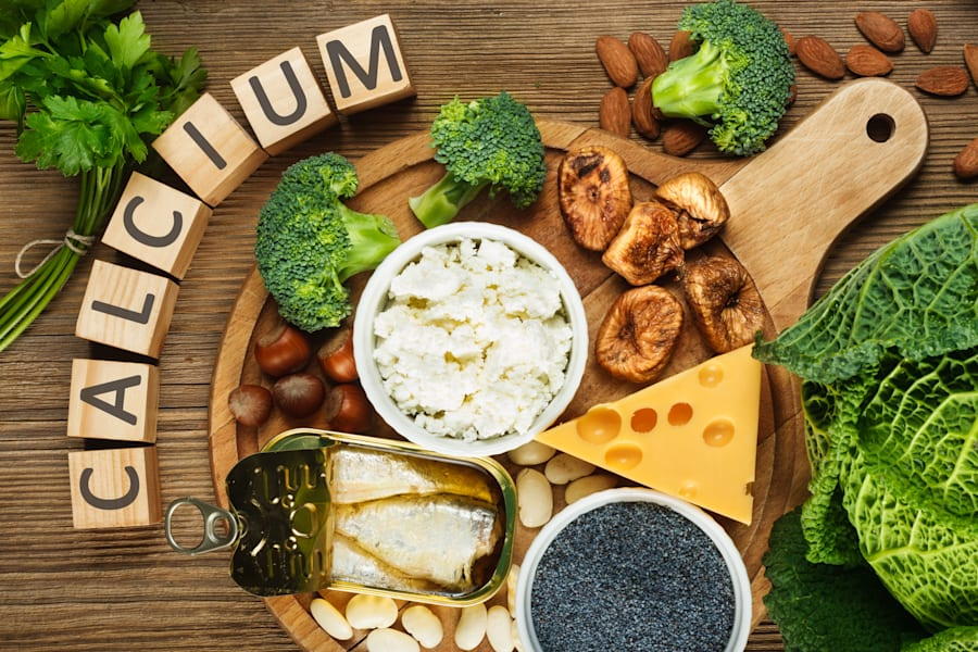 Foods rich in calcium include beans, dried figs, almonds, cottage cheese, hazelnuts, sardines, parsley,...