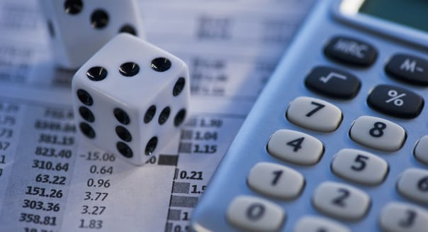 Dice calculator and financial document