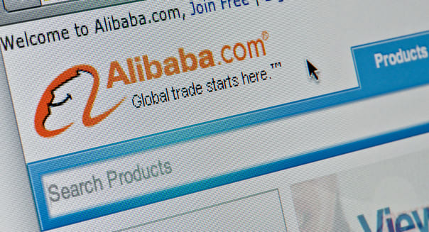 Close up of the Alibaba logo as seen on its website. (Editorial use only: print, TV, e-book and editorial website).