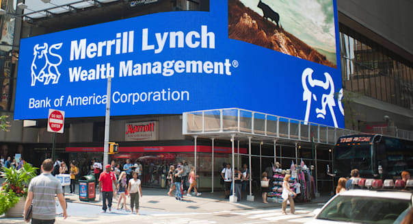 The new Bank of America illuminated sign promotes their Merrill Lynch brokerage