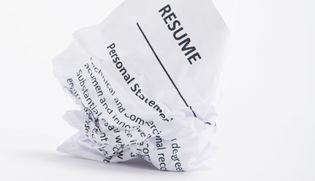 A Resume On A Crumpled Piece Of Paper