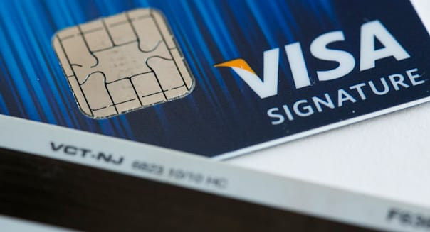 A Visa credit card featuring an EMV chip, also known as