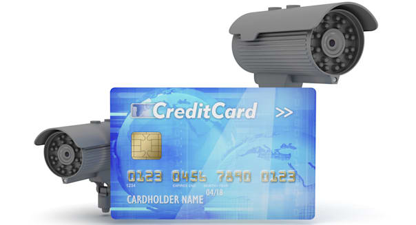 Two surveillance cameras and credit card