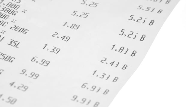 Grocery receipt with shallow focus, close up image