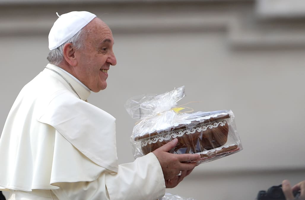Pope Francis receives a gift