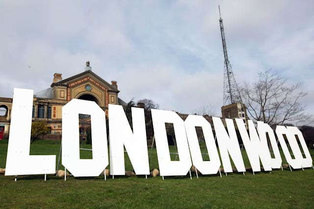 EDITORIAL USE ONLYAn 10ft sign spelling Londonwood appears at Alexandra Palace to welcome the biggest names in film to the capital this weekend ahead of the Three Empire Awards at the Camden Roundhouse, which takes place on Sunday March 19th. Issue date: Wednesday March 14, 2017. Photo credit should read: David Parry/PA Wire