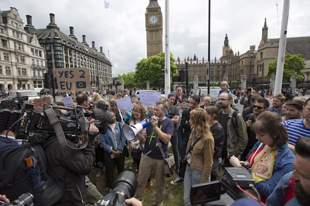Protestors Gather In Central London To Demonstrate Against The Outcome Of The EU Referendum