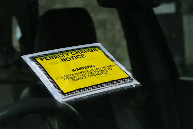 closeup of a uk parking ticket  ...