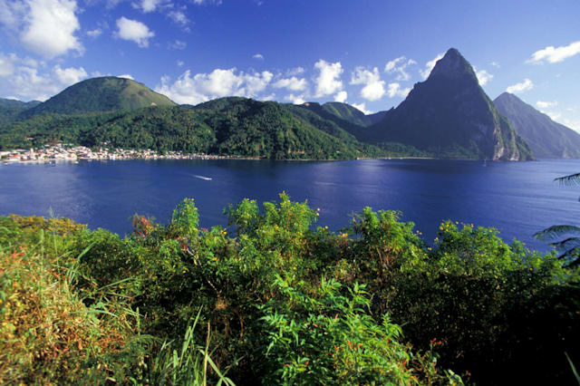 St Lucia, Soufriere Bay And Les Pitons From Caribbean Side