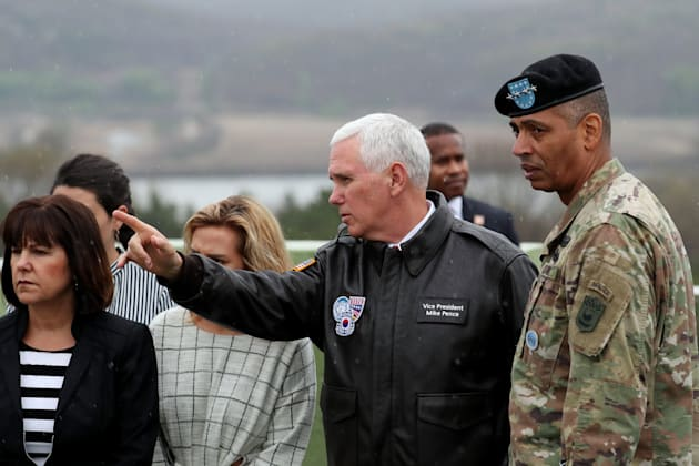 U.S Vice President Mike Pence visits the Demilitarised Zone between North and South