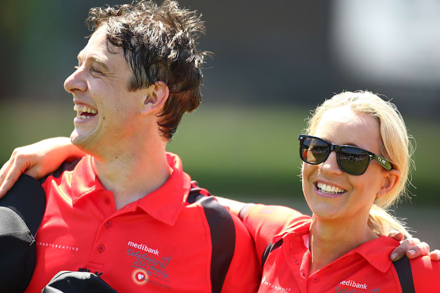 Samuel Johnson and Carrie Bickmore at the Medibank Melbourne Celebrity