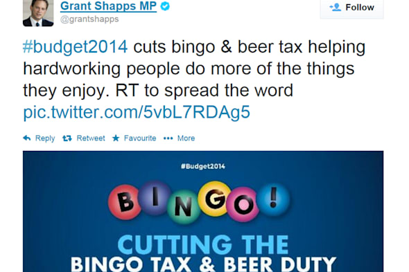 Screengrab taken from the @grantshapps Twitter feed of a message that the Conservative chairman Grant Shapps posted. PRESS ASSOCIATION Photo. Issue date: Wednesday March 19, 2014. The Tories faced a backlash after an online Budget advert hailed the bingo and beer tax breaks as