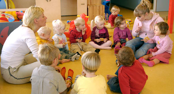 Children eating at the Day care center