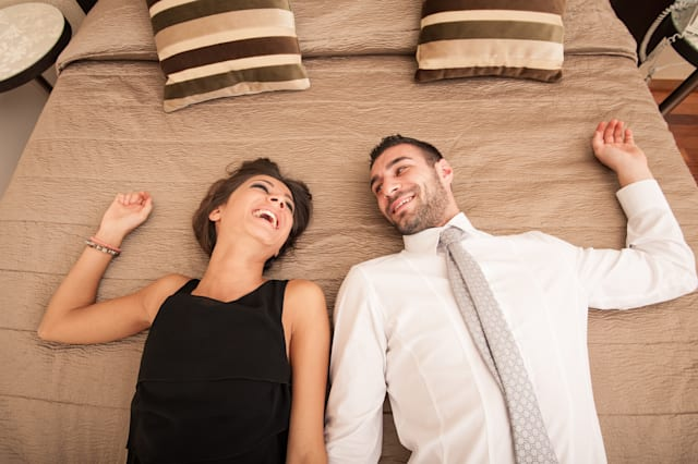 happy young couple relaxing in...
