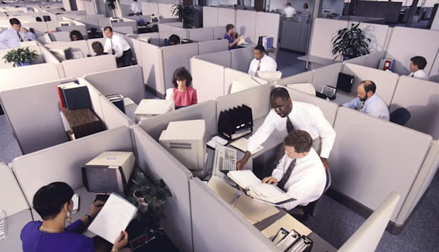 overview of business people at work in cubicles
