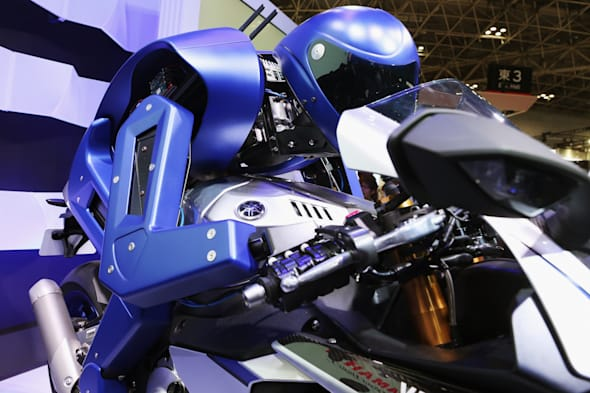 TOKYO, JAPAN - OCTOBER 28:  The MOTOBOT is unveiled at the Yamaha Motor Co., LTD booth during the Tokyo Motor Show 2015 at Tokyo Big Sight on October 28, 2015 in Tokyo, Japan. The Yamaha booth displays a 20-model array of concept and production models, including six world premiere models and one Japan premiere model.  (Photo by Ken Ishii/Getty Images for Yamaha Motor Co., LTD)