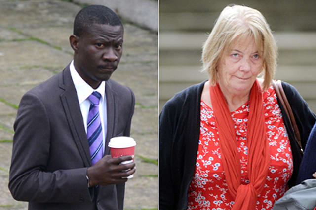 Adewunmi Nusi and victim Suzanne Hardman outside Winchester Crown Court