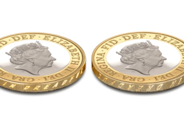 Upside down printing on the edge of a £2 coin.