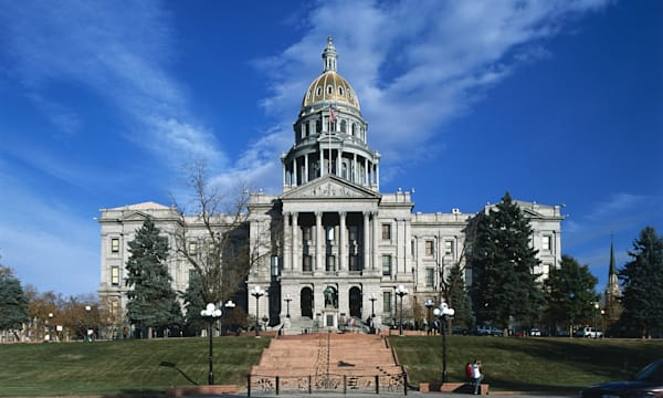 USA, Colorado, Denver, Colorado State Capitol, Corinthian order of classic architecture façade surmounted by dome,