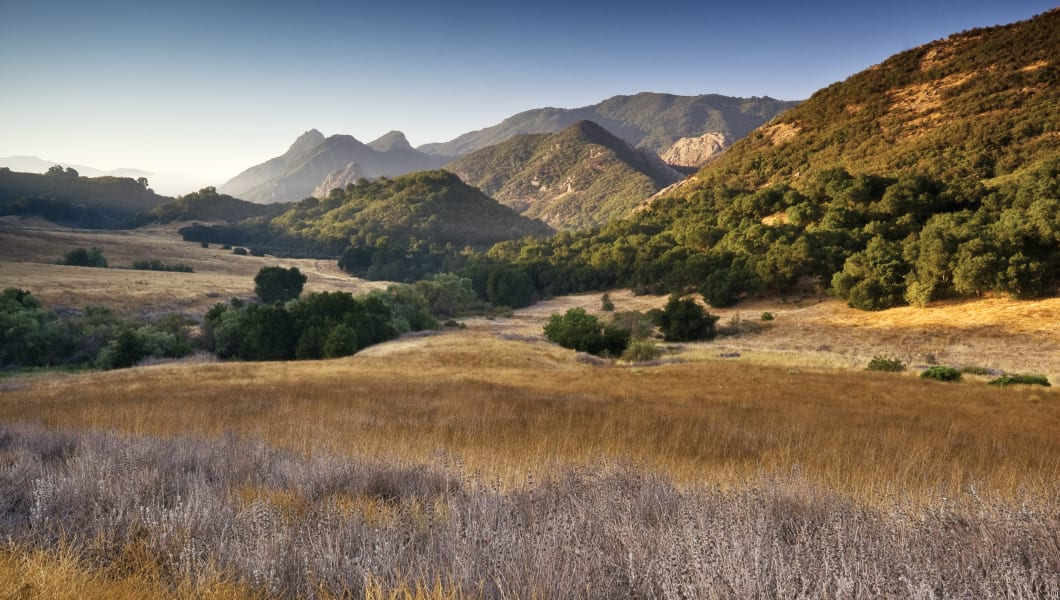 Malibu Creek State Park, from Mulholland Highway in Santa Monica Mountains near Malibu.