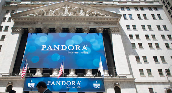 The facade of the New York Stock Exchange is seen on Wednesday, June 15, 2011 decorated in honor of the Pandora IPO