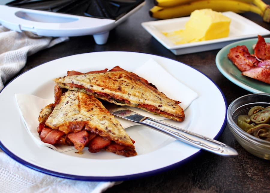 These jaffles feature banana for sweetness, pickled jalapenos for an acidic hit and salty bacon for balanced,...