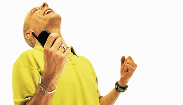Excited Man, Holding Mobile Phone