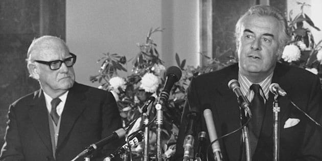 Australian Prime Minister Gough Whitlam (right) at a press conference at Australia House, London, at...