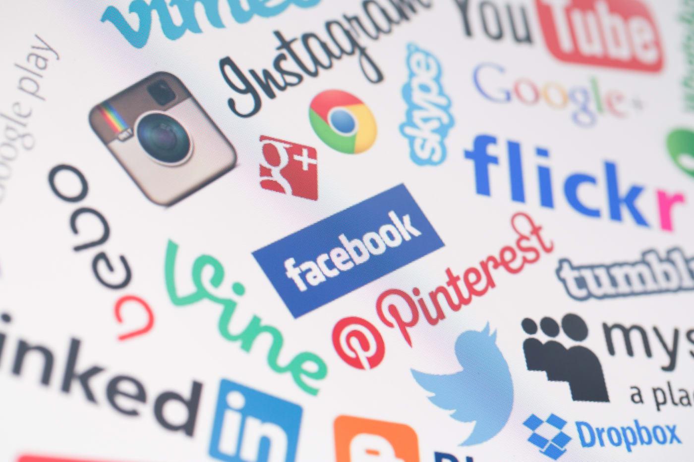 BELCHATOW, POLAND - DECEMBER 28, 2014: Popular social media website logos on computer screen
