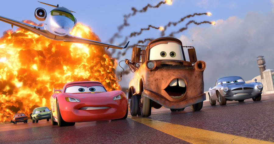 (L-R) Grem (voice by Joe Mantegna), Acer (voice by Peter Jacobson), Siddeley (voice by Jason Isaacs), Lightning McQueen (voice by Owen Wilson), Mater (voice by Larry the Cable Guy), Finn McMissile (voice by Michael Caine).