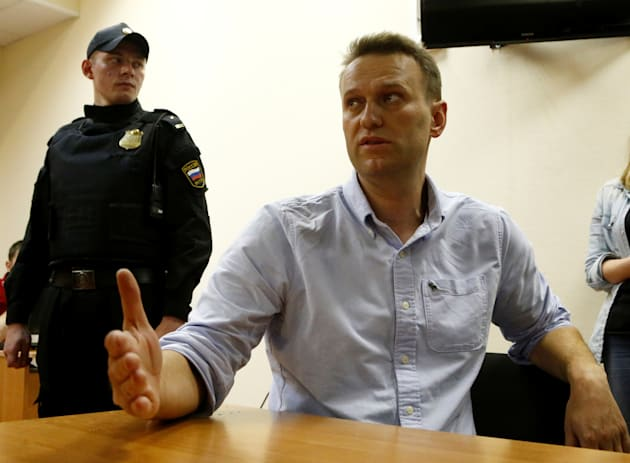 Anti-Kremlin campaigner Alexei Navalny during his court hearing in Moscow on Monday. He was sentenced...