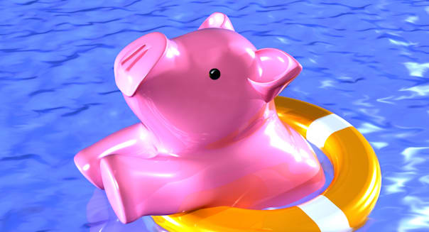B9B8R2 Illustration of a piggy bank being rescued from disaster.Keywords :