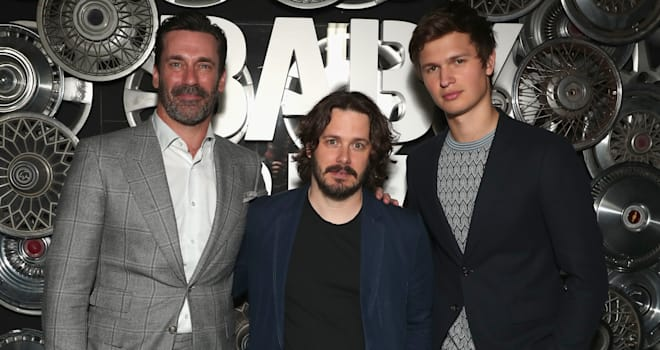 Jon Hamm, director Edgar Wright and Ansel Elgort