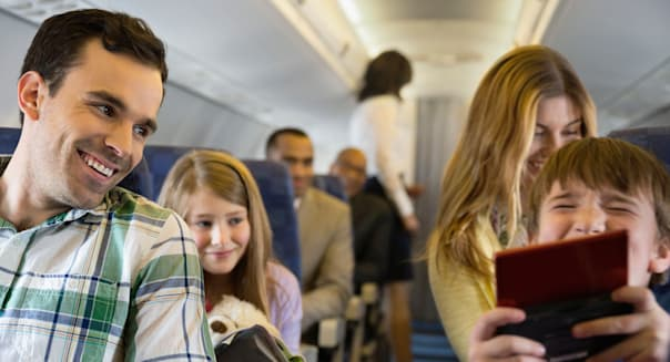 Passengers traveling in airplane