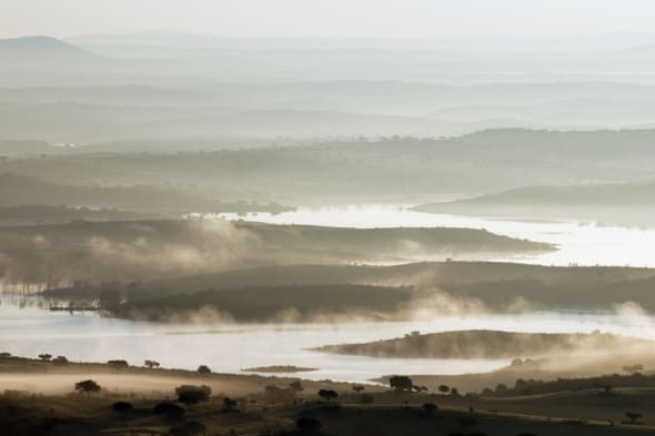 Early morning mist over Barragem de Alqueva (Alqueva Lake), from Monsaraz Castle.