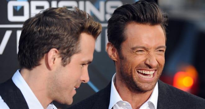 Cast members Ryan Reynolds (R) and Hugh