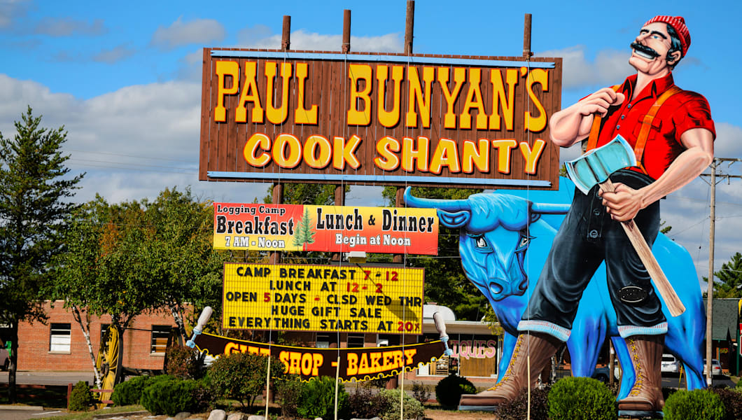 Paul Bunyan's Cook Shanty restaurant in Minocqua, Wisconsin, is known for its logging camp decor and all-you-can eat meals.
