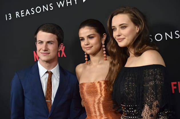 Actors Dylan Minnette, Selena Gomez and Katherine Langford arrive at the Premiere of Netflix's '13 Reasons...
