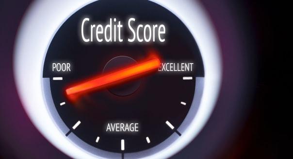 Poor Credit Score concept displayed on a gauge