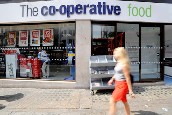 File photo dated 16/07/13 of a Co-operative food store as the embattled Co-operative Group posted a rise in festive sales across its supermarket arm thanks to a robust performance from its smaller convenience stores. PRESS ASSOCIATION Photo. Issue date: Wednesday January 8, 2014. The Co-op sought to put the woes at its banking business behind it as it hailed