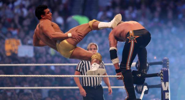 Apr 03, 2011 - Atlanta, Georgia, U.S. - ALBERTO DEL RIO kicks EDGE in the back of the head from the top rope. WrestleMania 27 an