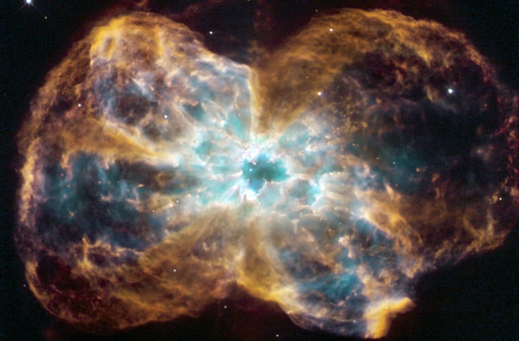 The star is ending its life by casting off its outer layers of gas, which formed a cocoon around the star's remaining core. Ultr