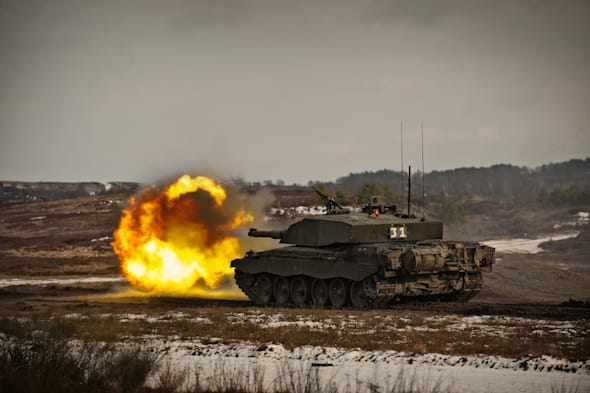 The Queen's Royal Hussars (QRH) with the Challenger 2 main battle tank at Hohne ranges Germany.