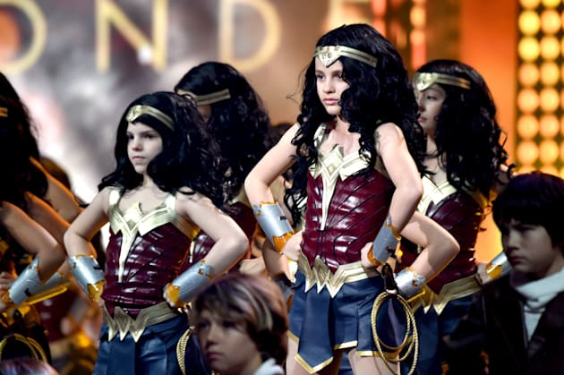 Children in costume as Wonder Woman onstage at Nickelodeon's 2017 Kids' Choice Awards on March 11,