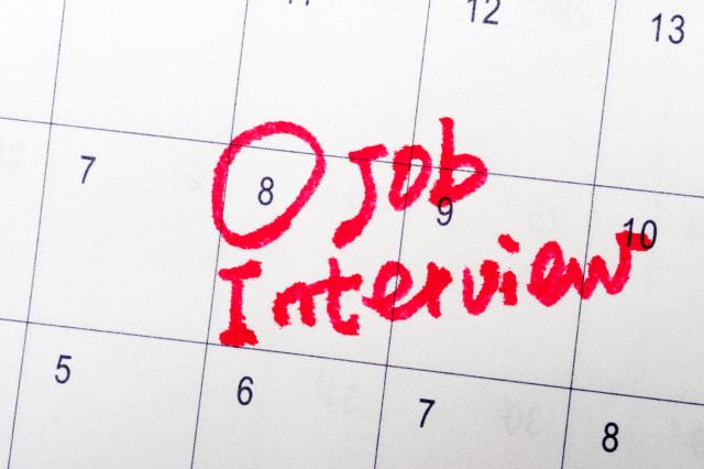 job interview words written on...