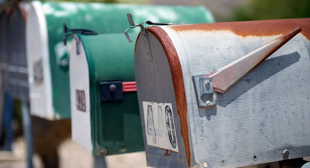 Row of traditional US mail (aka post) or letter boxes, Texas, US