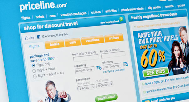 Close up of the Priceline logo as seen on its website. (Editorial use only: ­print, TV, e-book and editorial website).