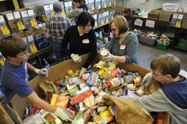Volunteers at a Toronto food