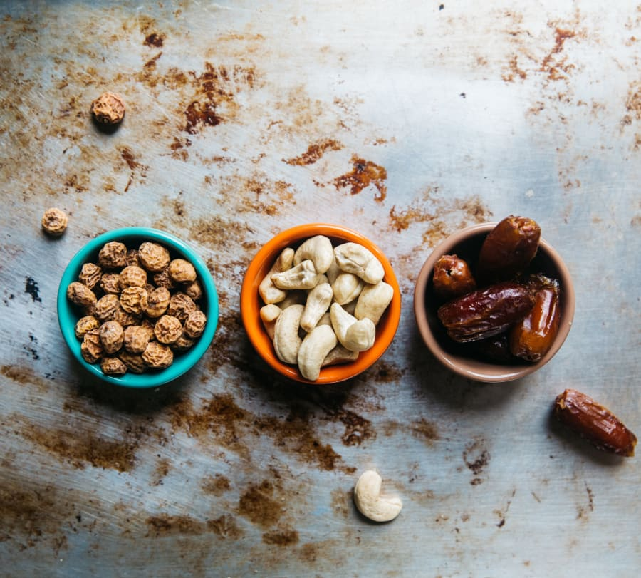 Instead of having a raw fruit and nut bar, snack on the whole ingredients so you don't go