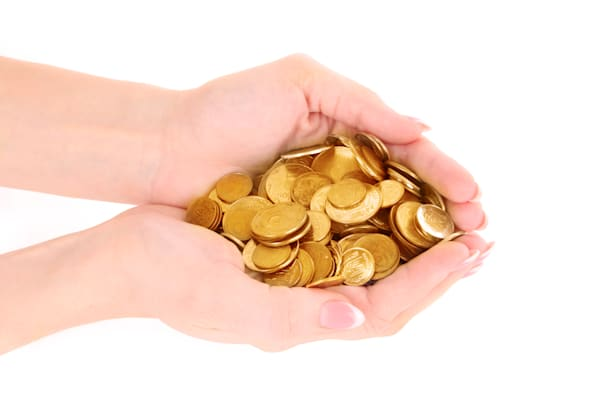 hands with coins isolated on...